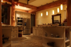 Custom Kitchen with White cabinets and granite counter tops