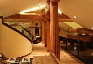 Western red cedar beams are showcased