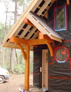 Log Home Entrance under construction