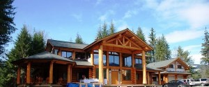 Log home in final stages of construction