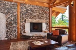 Fireplace with custom rock art