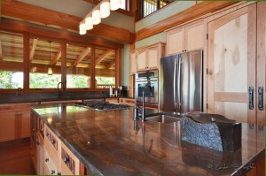 Custom kitchen in Timber Frame Log Home