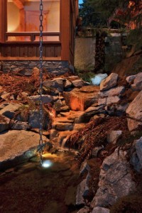 Beautiful water feature lite up at night time