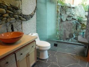 Beautiful natural stone shower