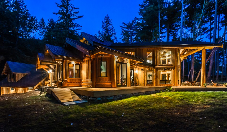 Stunning Timber Frame Home at sunset