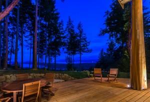 Deck with Western Red Cedar over looking ocean