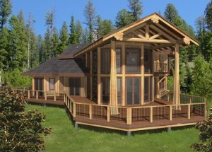 Log Home Rendering with large Deck