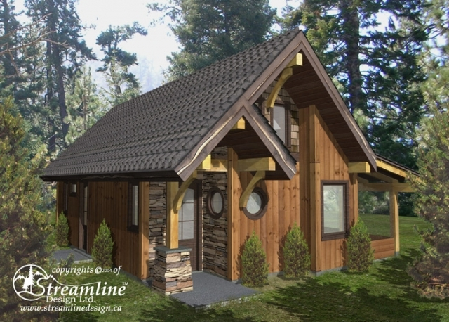 Chelwood cabin timber frame plans 695sqft streamline Timber frame cottage plans