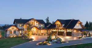 Timber-frame-house-at-dusk