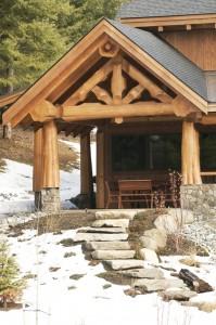 Log Home Entrance