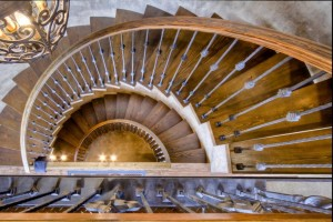 Spiraling Staircase in log home