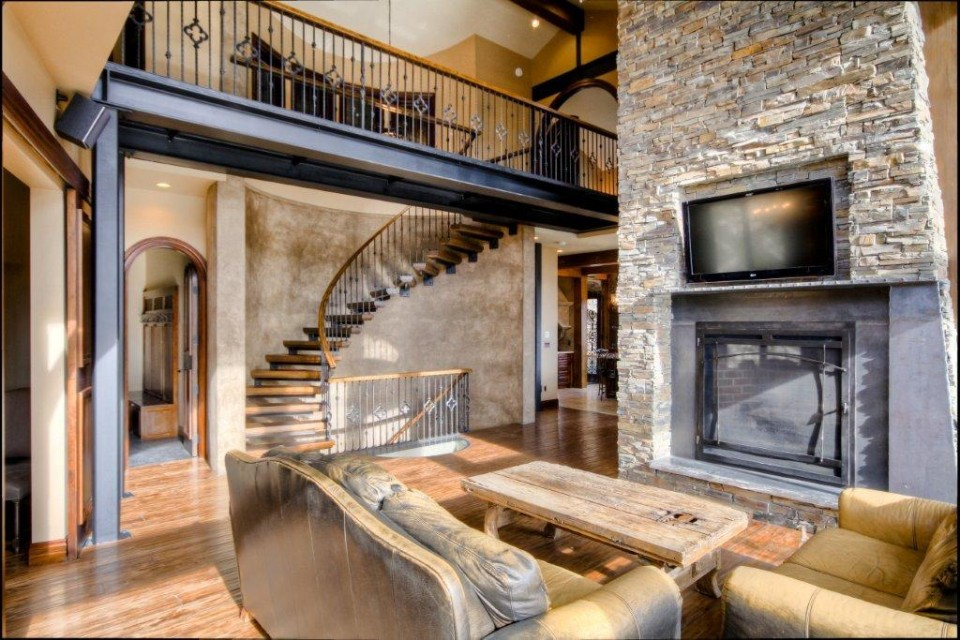 Log Home Living Room with fire place feature