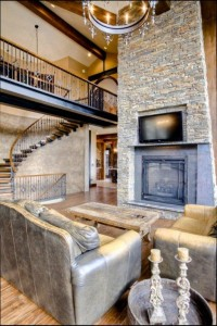 living room with fire place feature