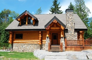Log Cabin with rock accents
