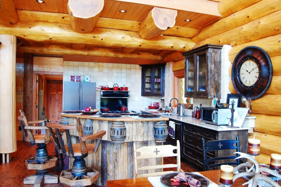 Very rustic log home kitchen