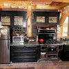 rustic kitchen in a log home