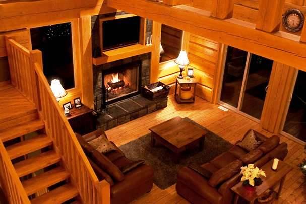 luxury log cabin living room