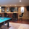 basement bar and pool table