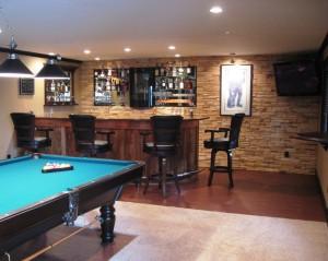 basement bar and pool table