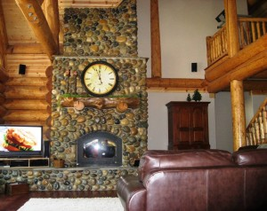 rustic living room with feature fireplace
