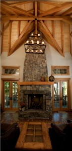 feature fireplace in log home