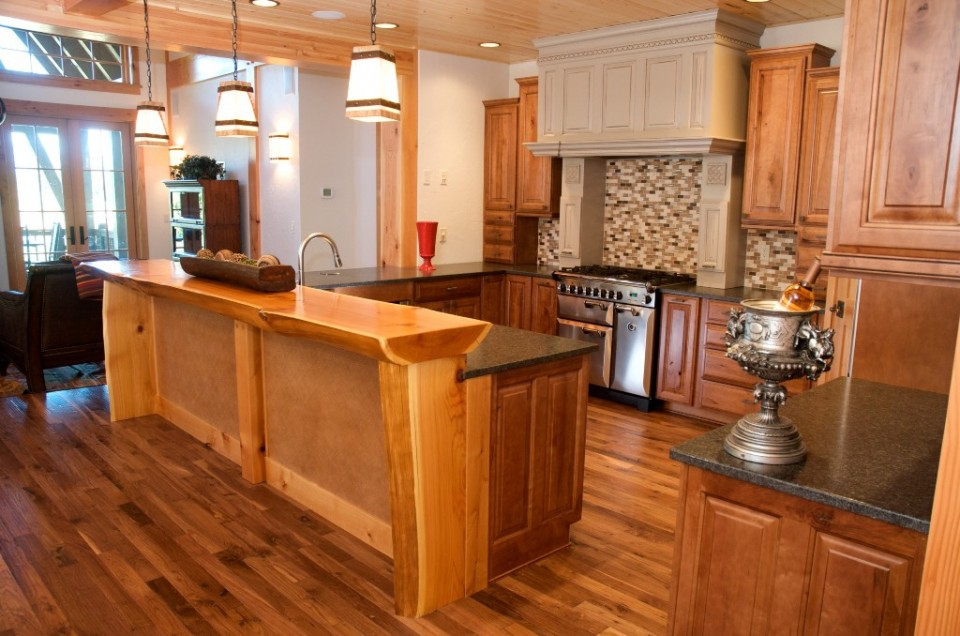 luxury log home kitchen