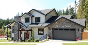 New home with single car garage