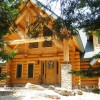 log cabin nestled int the woods