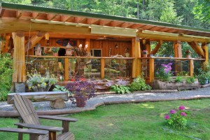 beautiful gardens and landscaping around log home