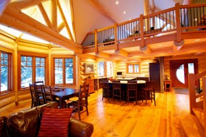 Great Room in a Timber Frame Home