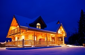 Log Home in the snow
