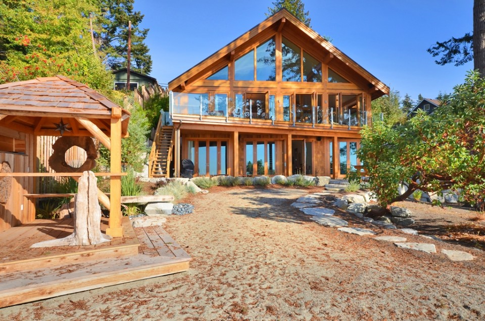 Beach front log home