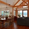 Dining and living room in timber frame home
