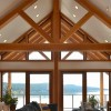 Exposed beams inside a timber frame home