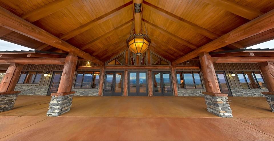 Grand entrance of log lodge