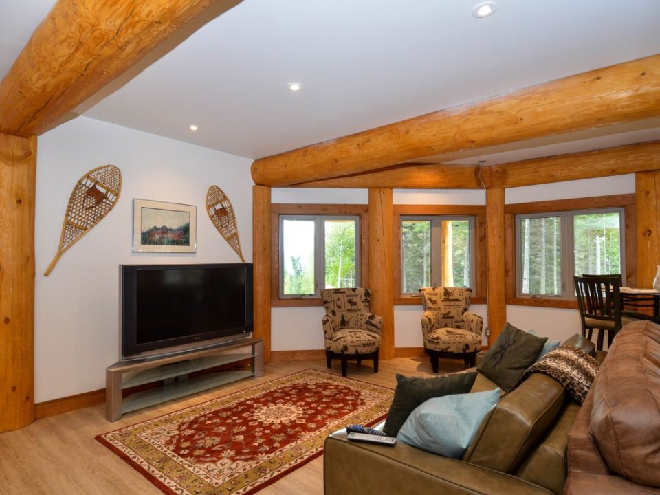 Television room in a post and beam log home