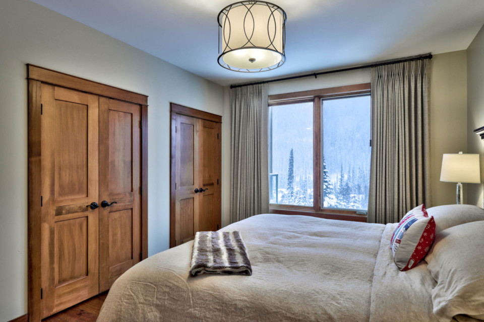 View outside from the master bed in a timber frame log home