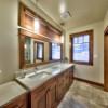 Master bathroom in a timber frame log home