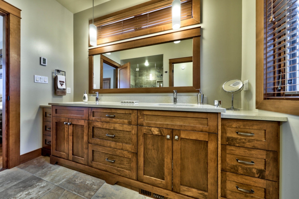 Close-up of master bathroom countertop in timber frame log home
