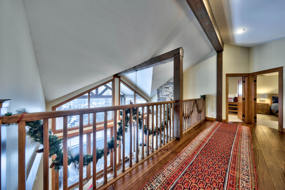 View outside from the upstairs loft in a timber frame log home