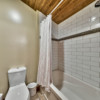 Second bathroom in a timber frame log home