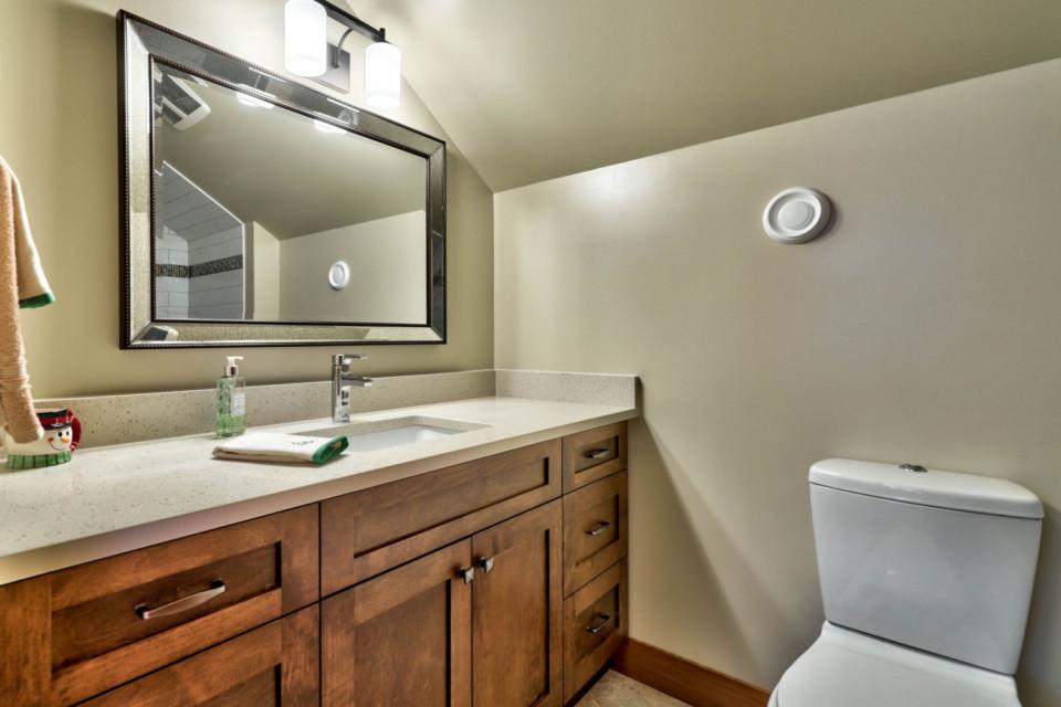 Detail of bathroom vanity in timber frame log home