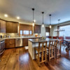 Large, modern kitchen in a timber frame log home