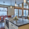 Kitchen island close up in a timber frame log home